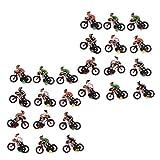 T TOOYFUL 24 Pièces en Plastique 2 Cm 1/87 Ho Modèle Cycliste Cavalier Diorama Paysage Mise en Page Pièces