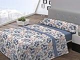 Pierre Cardin Juego sábanas coralina LIZANA 135 cm. Azul, 100Percent_poliéster, Cama de 135