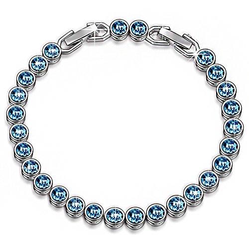 LADY COLOUR Bracelet Christmas Day Gifts for Women Wife Birthday Aquamarine Blue Tennis Bracelet Ballad for Adeline Swarovski Crystals Jewelry Her for Girlfriend Girls Mom Wedding