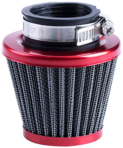 CNCMOTOK 38mm Air Filter For 90cc 110cc 125cc Dirt Pit Bike Chinese GY6 50cc QMB139 Moped Scooter Off Road Motorcycle ATV Quad XR50 CRF50 CRF70 XR CRF KLX Apollo SSR Lifan Engine Parts (RED)