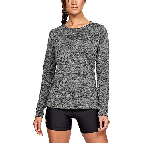 Under Armour Women's Tech Twist Crew Long-Sleeve T-Shirt,  Black /Metallic Silver,  Medium