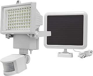 MAYSAK Solar 60LED PIR Motion Sensor Floodlight Security Light for Outdoor Garden 750 Lumen Ultra Bright 25 Meter Long-Range Detection Elimination Animal Erroneous Firing (White)