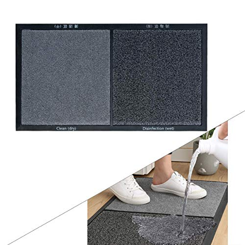Lianxing Felpudo Desinfectante Entrada Zapatos Alfombrilla, Alfombra Entrada Casa Interior Lavable Antideslizante 45cm × 80cm Gris