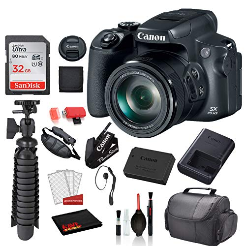 Canon PowerShot SX70 HS Digital Camera (3071C001) with Accessory Bundle Package SanDisk 32gb SD Card + Deluxe Cleaning Kit + 12' Tripod + More