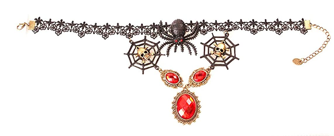 Charm.L Grace Flower Lace Gothic Lolita Pendant Choker Necklace Earrings Set Wedding Halloween Accessories