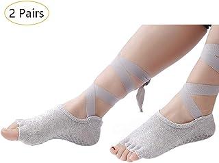 KINDOYO Toeless Socks with Grips - Ballet Pilates Dance Non Slip Breathable Straps Socks for Women