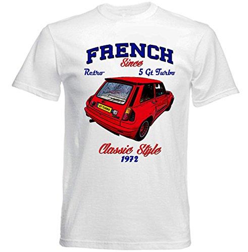 TEESANDENGINES Renault 5 GT Turbo 1 Camiseta Blanca para Hombre de Algodon...