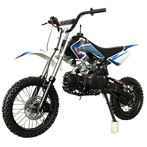 X-PRO Bolt 125cc Zongshen Engine Kids Dirt Bike Pit Bike Youth Dirt Pit Bike with 4-Speed Semi-Automatic Transmission, Big 14'/12' Tires!(Blue)