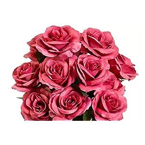 Silk Flower Arrangements Artificial Bouquet Silk Flowers Centerpiece Decoration Fake 12 Open Roses 4 Inch #AFFTM