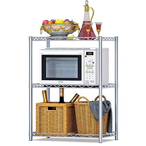 Pyrojewel Horno de microondas estante de nivel 3 estantes de almacenamiento estante de la cocina Estantería multifunción Open Home Organizador (Color: Plata, Tamaño: 56X80X35CM) Adecuado para dormitor