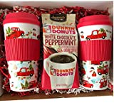 Limited Edition Dunkin Donuts White Chocolate Peppermint Coffee Gift Set! Includes 2 Reusable Holiday Travel Mugs & 11 OZ Dunkin Donuts White Chocolate Pepermint Coffee!! Ship to Friends & Family!!
