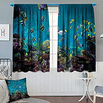 Ocean Decor Collection Blackout Window Curtain Untouched Wild Underwater Aquatic World with Corals Exotic Fishes Seascape Picture Customized Curtains 52 x63  Aqua Teal Yellow Navy White Green