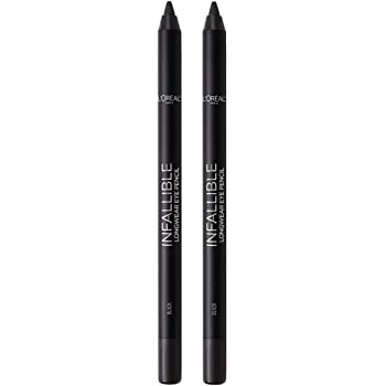 L'Oreal Paris Makeup Infallible Pro-Last Pencil Eyeliner, Waterproof & Smudge-Resistant, Glides on Easily to Create any Look, Black, 2 Count
