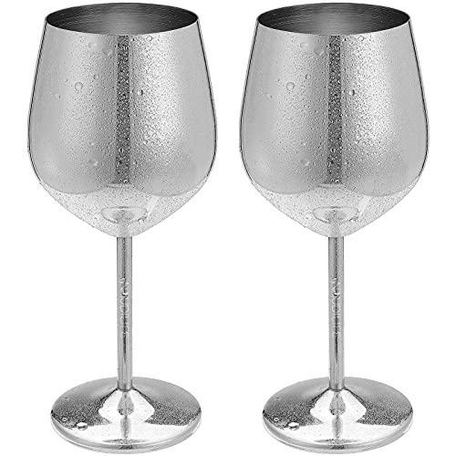 Juego de 2 elegantes copas de vino de cobre pulido con espejo de 500 ml de acero inoxidable irrompibles, copas de cóctel de metal, irrompibles, regalo perfecto para fiestas de camping (plata)