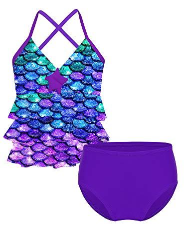MSemis Traje de Baño Dos Piezas para Niñas Bañadores Estampado Escamas Top Volantes Bikini Tankini de Playa Natación Vacaciones Multicolor 14 años