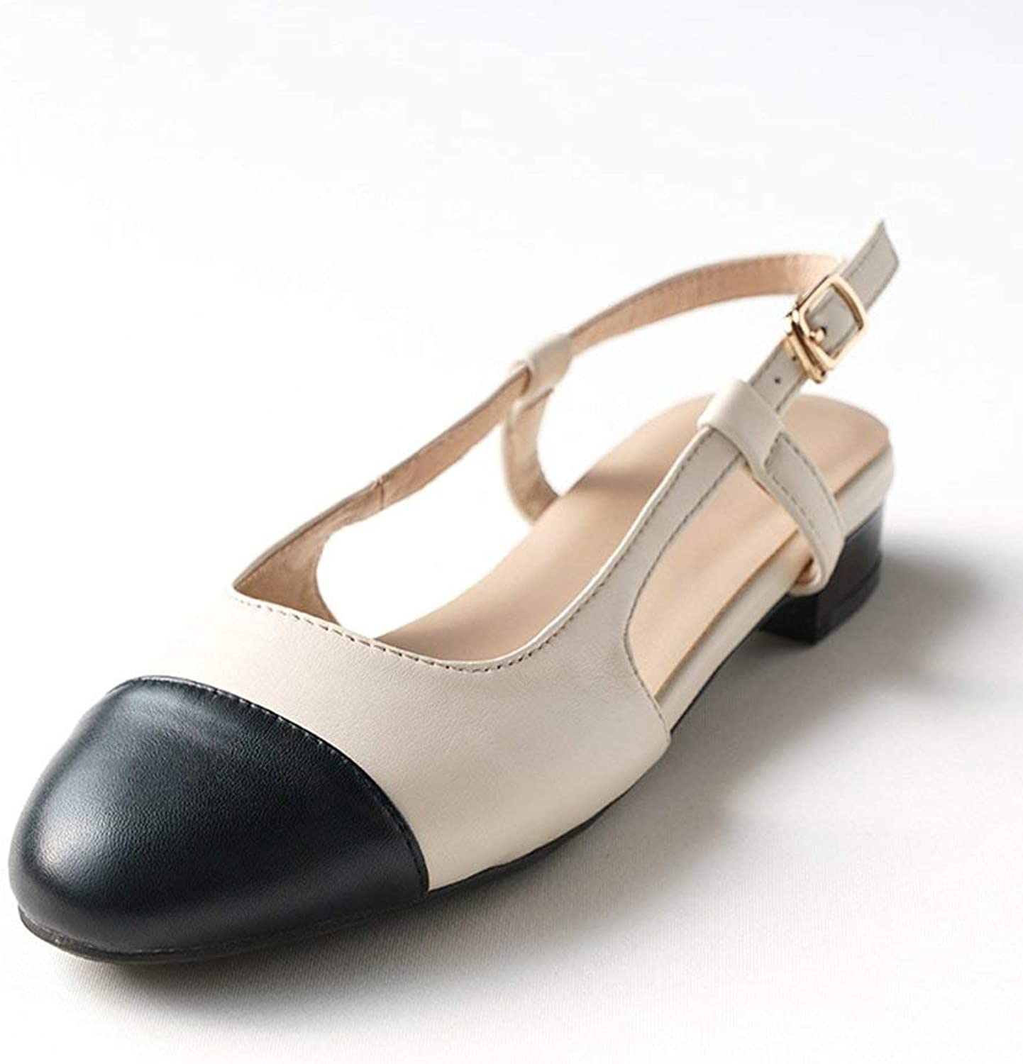 Comfortable and beautiful ladies sandals Sandals Summer Female Mixed colors Round Head Buckle Low-heeled Single shoes