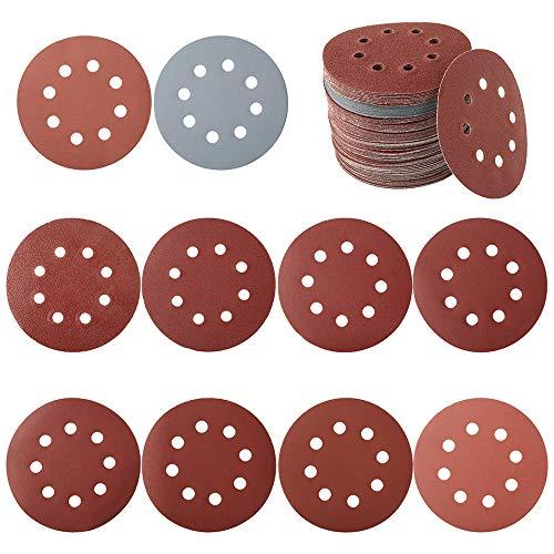 100 discos de lijado con fijación de nailon para lijadora excéntrica Ø 125 mm, papel lijado, papel de lija, 80/180/240/320/400/800/1000/1500/2000/3000 (100 unidades con agujero)