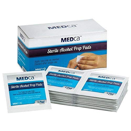MEDca Alcohol Prep Pads, Estéril, Mediano, 2-Ply PACK OF 100