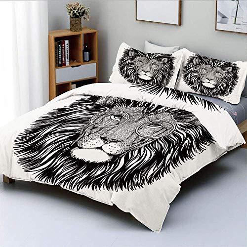 Juego de funda nórdica, León salvaje inconformista con gafas, gato grande sabio, inteligente, retrato de animal inteligente, decorativo, juego de cama decorativo de 3 piezas con 2 fundas de almohada,
