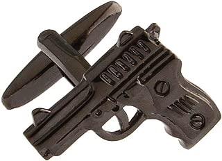 MRCUFF Pistol Handgun Gunmetal Black Gun Police Pair Cufflinks in a Presentation Gift Box & Polishing Cloth