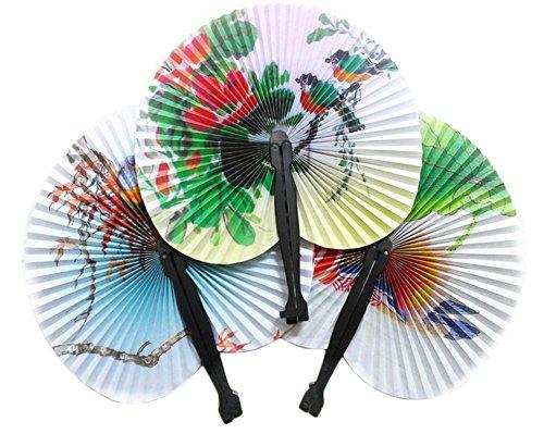5x milopon Abanico plegable Compartimiento japonés chinos Compartimiento de seda para boda Decoración Regalo Noche de danza Fiesta Disfraz Máscara karnevals