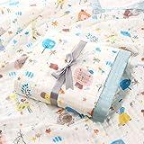 SaponinTree Musselin Babydecke, Superweich Baumwolle Kuscheldecke, 100% Baumwolle, Zwei Lagen Decke Pucktüche für Kinder et Baby Kinderwagen und Babyschale