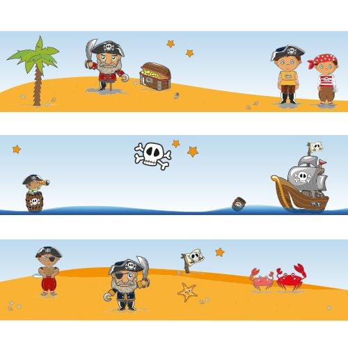 """Wandkings Bordüre """"Piraten auf Schatzsuche"""" Länge: 450 cm, selbstklebend, für's Kinderzimmer"""