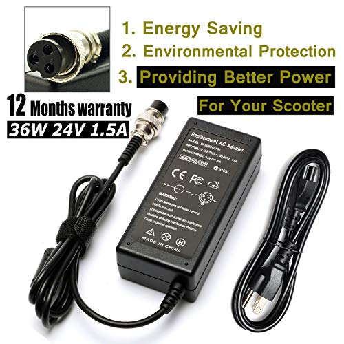 LJO-EEIH 24V 1.5A Battery Charger for Razor E100 E200 E300 MX350 MX400 ZR350 E125 E150 E175 E200S E300S E225S E225 E325S E500 PR200;Mini Chopper;Pocket Rocket Sports Mod, and Dirt Quad