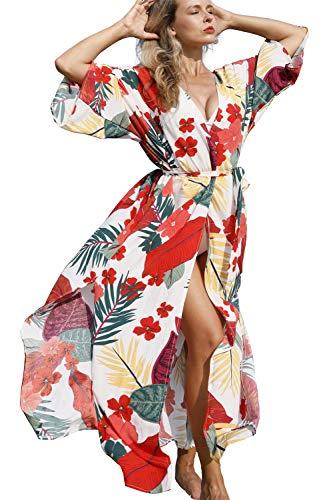 L-Peach Damen Baumwolle Böhmen Kimono Langes Kleid Pareos Strandkleid Bikini Cover Ups