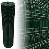 Rete metallica per voliera verde, 25 x 25 mm, 4 angoli (150 cm x 12,5 m, 1,45 mm)