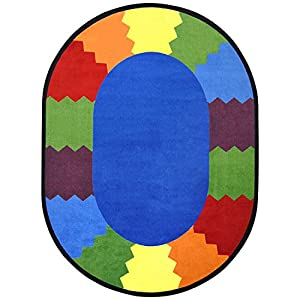 Joy Carpets Kid Essentials Early Childhood Oval Block Party Rug, Multicolored, 10'9″ x 13'2″