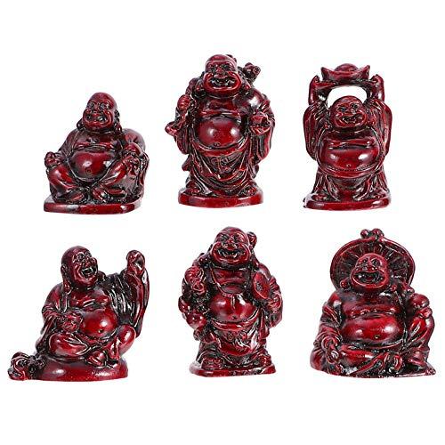 GARNECK 6 Piezas Estatua de Buda Sonriente Vintage Mini Estatuilla de Buda Feliz Mascota Té Maitreya Estatuilla de Buda Feng Shui Ornamento de Meditación Riqueza Buena Suerte Escritori