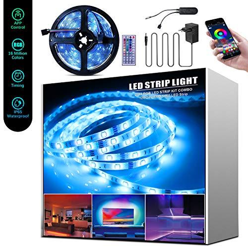 5M Tira LED RGB, Beedove Tiras LED 12v 150 LEDS 5050 Iluminación e Ambiente, Nombrar, Sync con Música, con Control Remoto y Bluetooth App, IP65 Luces Led para Habitacion Hogar Cocina Bar Fiesta Boda