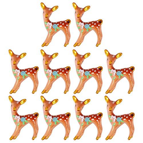 EXCEART 10pcs Miniature Reindeer Garden Decor Christmas Deer Figurines Mini Reindeer Statue Christmas Resin Micro Landscape Decorations