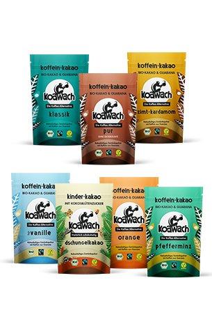 koawach Probierset (7x Kakaopulver à 100g): Kakao mit Koffein aus Guarana - Bio, vegan und fair gehandelt - Neues Design