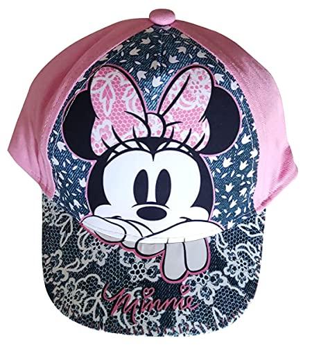 Minnie Maus Kappe Base Cap, Mütze mit Spitzen Motiv auf dem Schirm für Kinder, Jungen und Mädchen (Rosa, 50)