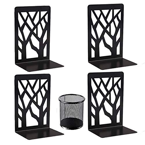 Book Ends (Black 2 Pair), Bookends Heavy Duty, Aileese Book End Holder for...