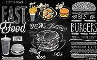写真の壁紙3D壁画レトロな黒板新聞グラフィティバーガーフライドチキンフライレストラン背景壁現代のHdポスター大きな壁のステッカーツーリング壁アート装飾壁の装飾-98.4x68.9inch
