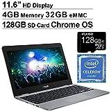 2020 Asus Chromebook 11.6 Inch Non-Touch Laptop, Intel Celeron N3350 up to 2.4 GHz, 4GB LPDDR4 RAM, 32GB eMMC, WiFi, Bluetooth, Webcam, Grey, Chrome OS + NexiGo 128GB MicroSD Card Bundle