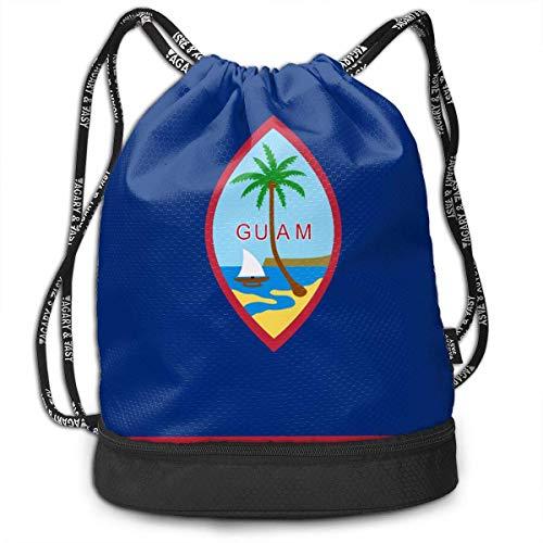 PmseK Sac à Dos imprimé avec Cordon de Serrage, Flag of Guam Multifunctional Bundle Backpack Shoulder Bag for Men and Women