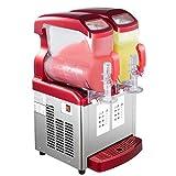 VBENLEM 110V 2 in 1 Commercial Slushy Machine 2x6L Double Tank Soft Ice Cream Maker 1000W LED Display for Supermarkets Cafes Restaurants Snack Bars, 12L, Red