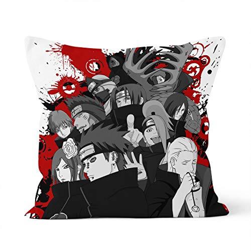 Funda de almohada cómoda y agradable al tacto con temática de dibujos animados de Naruto, adecuada para la almohada del coche del dormitorio de casa tamaño 40 x 40 cm