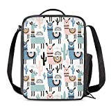 Vunko Cute Alpaca Animal Insulated Lunch Bag for School Work Office Picnic Llama Cactus Tote Lunch Box Containers for Adults and Kids Compact Reusable Cooler Bag with Shoulder Strap