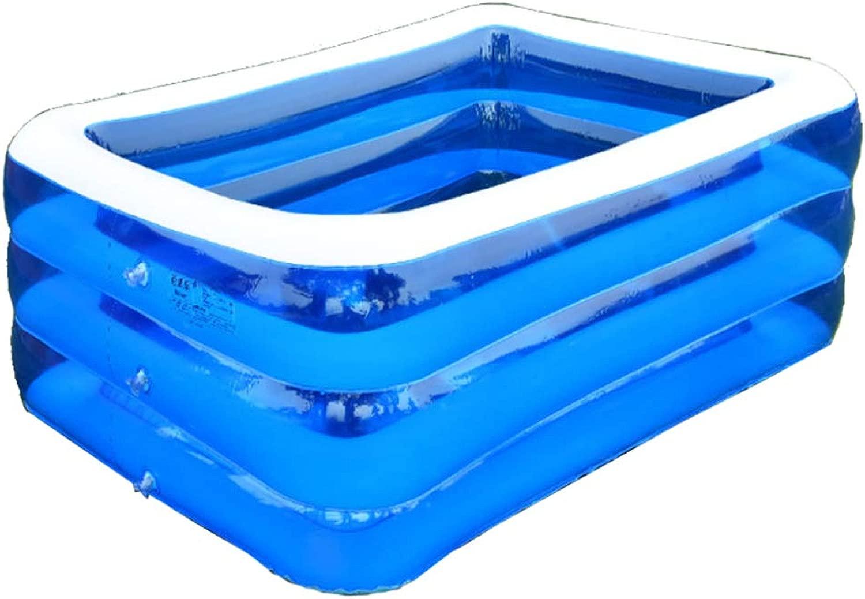 YIcorrere Piscine Gonfiabili per Bambini Piscina Familiare Piscina di Ptuttiine Ocean Adulti Vasca per Bambini 3 Anelli Azzurro Trasparente 210x150x68cm
