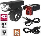 P4B 35 Lux USB Fahrrad Akku Lampenset LED Fahrradbeleuchtung StVZO Zulassung Frontlicht mit 180° / Rücklicht mit 240° Ausleuchtung Scheinwerfer, Beleuchtung Set bestehend aus Frontlampe + Hecklampe