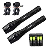 Skywolfeye 2 Pack Police Military Flashlights 5 Mode T6 2000 Lumen Led Flashlight 18650 Battery + Charger + Bike Clip Ship from USA