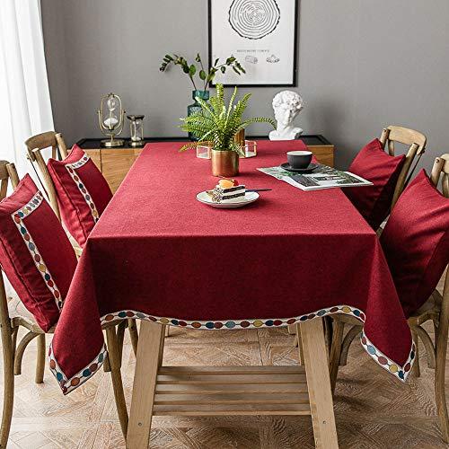 Deggodech Natale Tovaglia Rossa Tavolo Rettangolare con Bordo Colorato Ricamato Tovaglie Rosse Rettangolari Decorazioni Tovaglia Natalizia Rossa 140 * 200cm/55 * 79inch