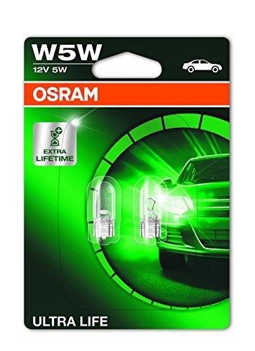 Osram ULTRA LIFE W5W Halogen, Kennzeichen-Positionslicht, 2825ULT-02B, 12V PKW, Doppelblister (2 Stück)
