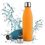 Botella de Agua Acero Inoxidable-500ml/750ml,Aislada al Vacío de Conserva Frío Doble Pared,sin BPA Botella Agua Deporte,Resistencia al Rayado, fácil de Limpiar,Reutilizable para Colegio, Sport,Yoga