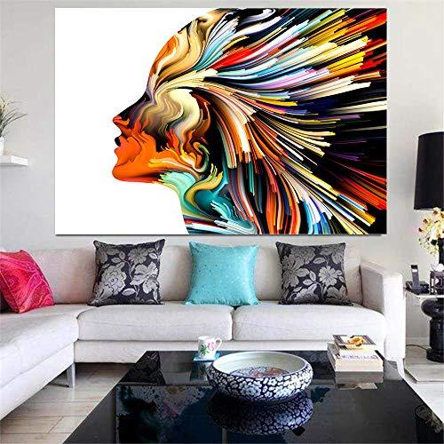 Carteles Abstractos Cabeza de Pintura Líneas Coloridas humanas Pintura en Lienzo Imágenes Arte de la Pared para la Sala de Estar Decoración del hogar-70x120cm (sin Marco)